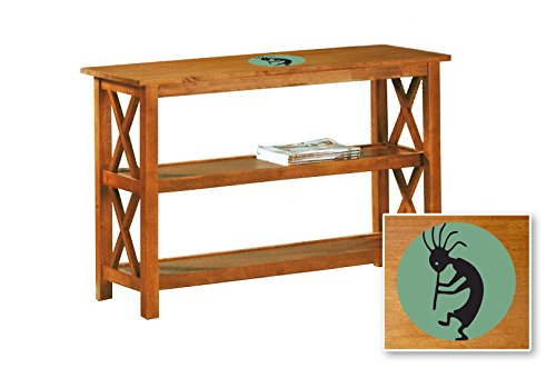 New Oak Finish Sofa Table With Shelves Featuring A Aqua Green Kokopelli Logo