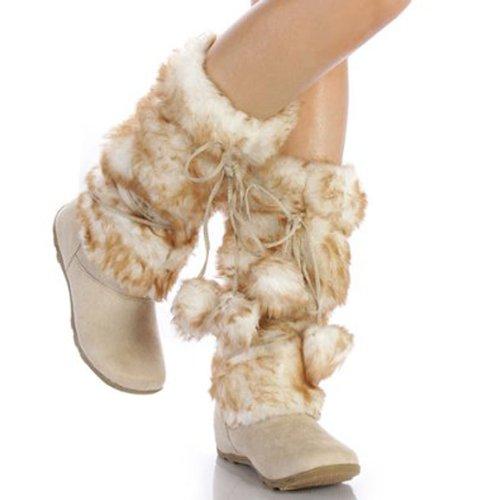 Beige Super Furry Pom-pom Winter Flat Boots Vegan