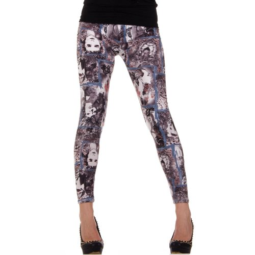 Damen Leggings, LEGGINGS, HOSE STRÜMPFE, von Hot-Fashion, SS-BF92300, Leo Schwarz, ONE SIZE