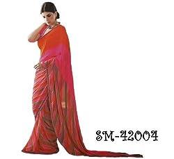Starmart Womens Cotton Straight Dress Material Lt Saffron Georgette Sarees 42004