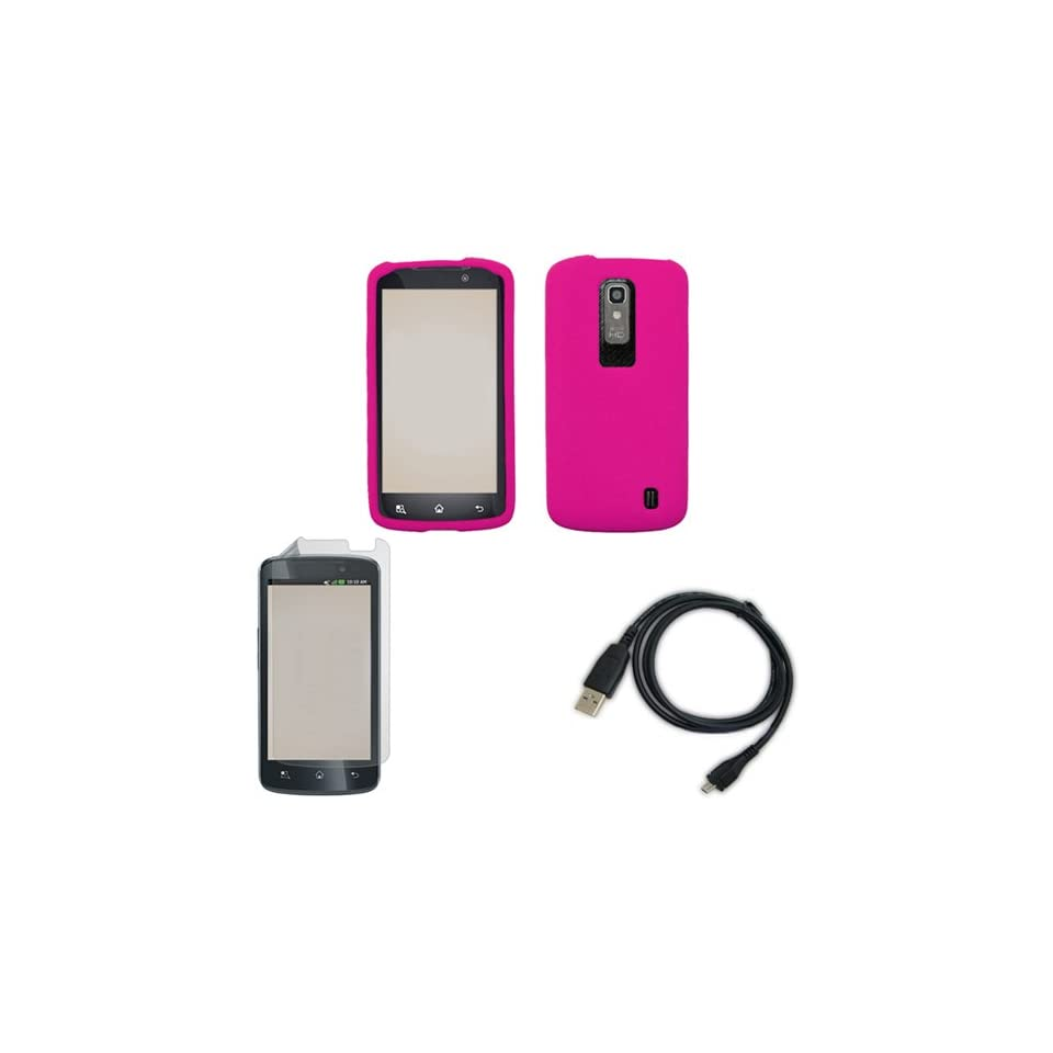iFase Brand LG Nitro P960 Combo Solid Hot Pink Silicon Skin Case Faceplate Cover + LCD Screen Protector + USB Data Charge Sync Cable for LG Nitro P960