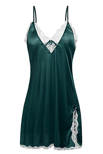 Ekouaer Sexy Lingerie Women's Satin Lace Chemise Slip Nightgown,Green,Small