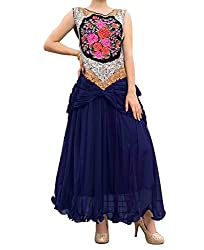 Awesome Fab Royal Blue Colour Net Partywear Designer Gown