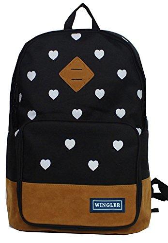 Beauty Casual Style Canvas Laptop Bag Shoulder Bag School Backpack Travel Bag Handbag Black front-212641