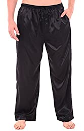 Del Rossa Men\'s Satin Pajama Pants, Long Pj Bottoms, Medium Black (A0757BLKMD)