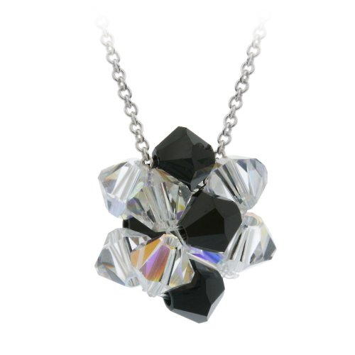 Sterling Silver Black and Aurore Boreale Swarovski Elements Ball Pendant Necklace with Rolo Chain, 18