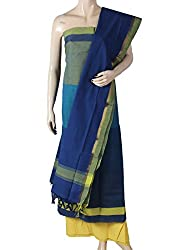 Handloom Cotton Dress Material with Yellow Pant and Blue Dupatta