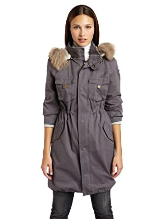 Patterson J. Kincaid Women's Lauren Fur Trim Parka, Charcoal, Small
