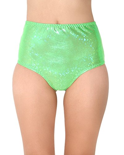 iHeartRaves Hologram High Waisted Rave Booty Shorts (Small/Medium, Neon Green)