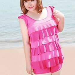 Krivani Women's Beach Wear (BW110_Pink_XXL)
