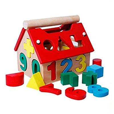 Wooden Building Block Houses Toy House Digital Number Intellectual Blocks