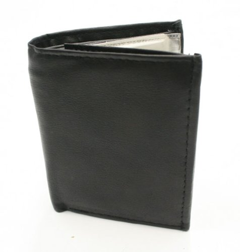 NEW MENS BLACK GENUINE LEATHER BIFOLD BILL FOLD WALLET