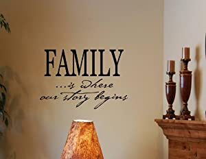 FAMILY IS WHERE OUR STORY BEGINS Vinyl Wall Decals Quotes Sayings Words Art D... by Vinylsay