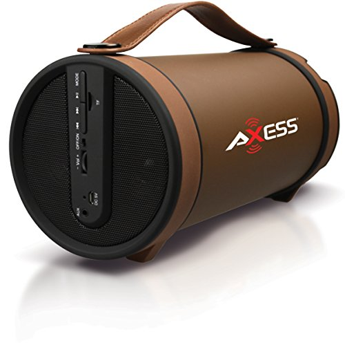 """Axess SPBT1033-BR Portable Bluetooth Indoor/Outdoor 2.1 Hi-Fi Cylinder Loud Speaker with SD Card, AUX and FM Inputs, 4"""" Sub In Brown Color"""