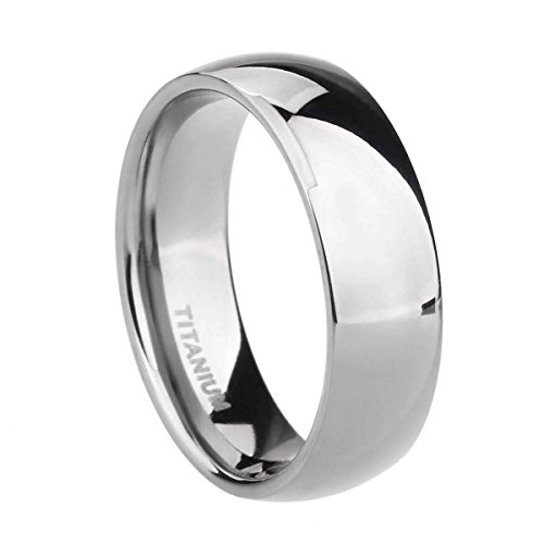 6mm Titanium Plain Dome High Polished Wedding Band Ring Comfort Fit Size 4-15 £¨Titanium, 10)