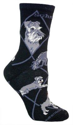 miniature schnauzer black cotton dog novelty socks for