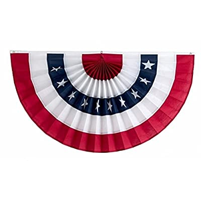 SSK® 6' Pleated USA Fan American Flag - Independence Day July 4th Decor - 6' X 3' Full Size