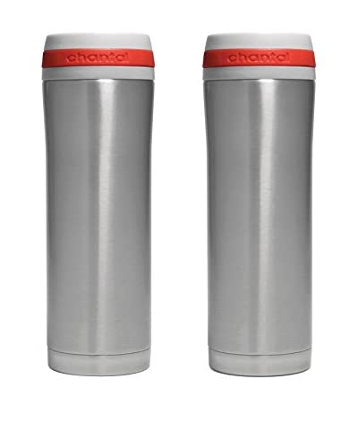Chantal Set of 2 Vacuum Insulated 15-Oz. Travel Mugs, Stainless Steel/Red