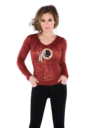 Washington Redskins Women's Burnout Team Long Sleeve Thermal - by Alyssa Milano at Amazon.com