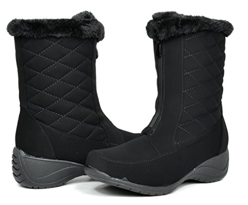DREAM PAIRS CANADA Women's Winter Fur Interior Front Zipper Quilted Shaft Outdoor Snow Boots Black Size 7 (Boots Quilted Wedge compare prices)