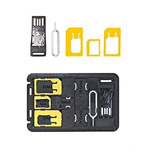 FNS COOLNUT SIM Card Adapters/Storage + Micro SD storage + Micro SD Card Reader + Sim Release Pin in Credit Card Size