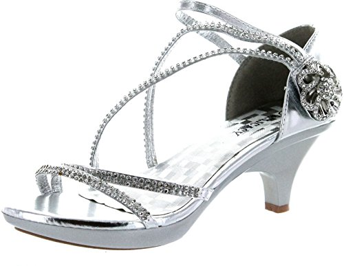 Delicacy Womens Angel-48 Party Dress Sandals Pumps,Silver,7.5