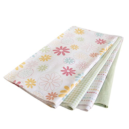 Kidsline Fanciful Floral Receiving Blanket, Mint, 4 Count - 1