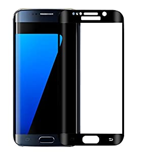 ALCLAP S7 edge screen protector-Samsung Galaxy S7 Edge Tempered Glass-High Definition-3D curved-Full 100% Coverage(Black,NOT FOR S7) by ALCLAP