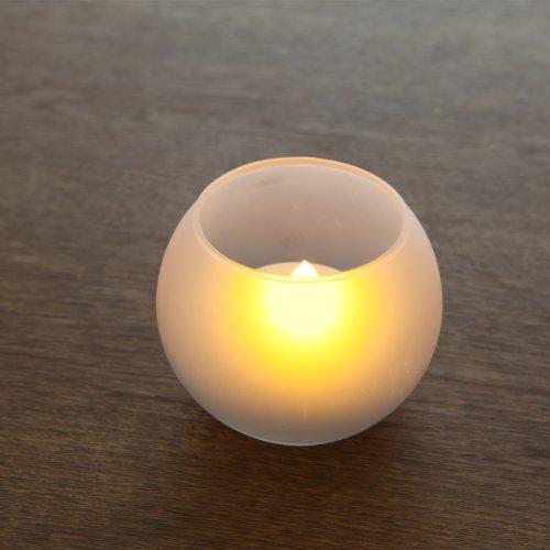 LEDキャンドル【息の吹きかけでの消灯機能付き】 つや消しガラス製キャンドルグラス ボール型と角型を選べる 電子ロウソク パーティ 部屋のイルミネーションにも最適! (ボール型)
