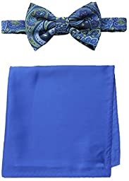 Steve Harvey Men\'s Paisley Woven Bowtie and Solid Pocket Square, Blue, One Size