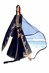 SK Creation Fabulous Navy Blue Neck Embroidered Party Wear Gown With Embroidered Dupatta