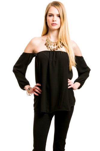 Detached Sleeve Blouse in Black