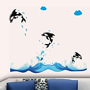 Decals Design '3 Jumping Dolphins' Wall Sticker (PVC Vinyl, 70 cm x 50 cm)