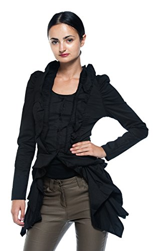 Women's Steampunk Victorian Gothic Edwardian Bustle Tailcoat Pleat Ruffle Blouse (Medium, Black)