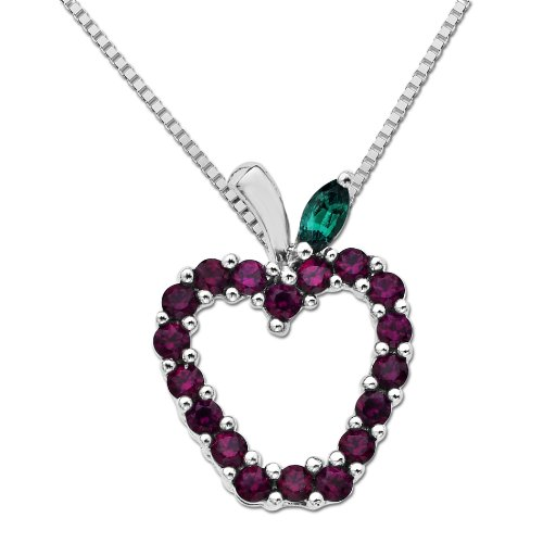 XPY Sterling Silver Created Ruby and Emerald Apple Pendant Necklace, 18