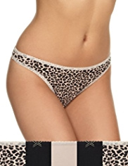 5 Pack Cotton Rich Animal Print Thongs