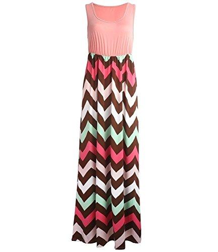 Yidarton-Womens-Wave-Striped-Summer-Beach-Dress-Party-Long-Maxi-Dresses