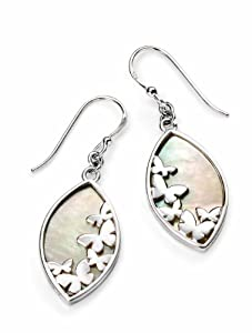 Elements Sterling Silver Women's E4564W Butterfly Earring with MOP Inlay