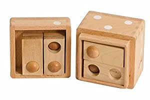 1 Inch Wooden 3D Hole and Balls Dice Box Puzzle, Light Beige