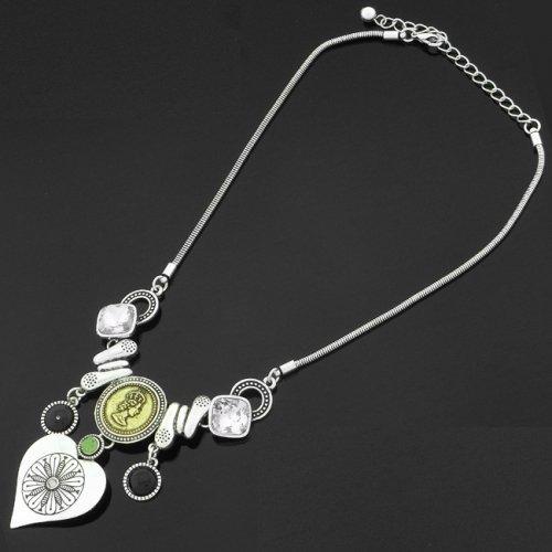 Diamante Necklet/Necklace - Silver Tone, Heart Pendant,JS-N5909