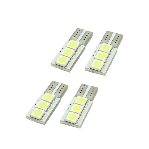 4Pcs T10 3 Led 5050 Smd Canbus Error Free Led Light Gauge Lamp Car Bulbs White