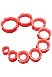 "PAIR 8g-1"" Red Thin Earskin Silicone Tunnels Plugs Gauges Double Flare"