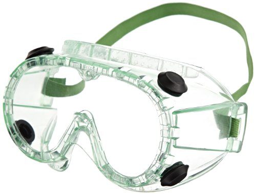 Sellstrom 882 PVC Indirect Black Vent Chemical Splash Goggle, Green Tinted Body/Clear Anti-Fog Poly Bagged Lens