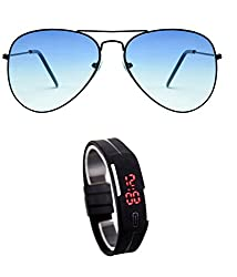 MagJons Black Frame Blue Aviator Sunglasses With Digital Slim Watch