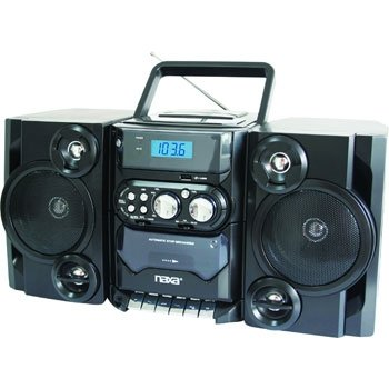NAXA NPB-428 Portable MP3/CD Player AM/FM Radio Cassette Player/Recorder Twin Detachable Speakers