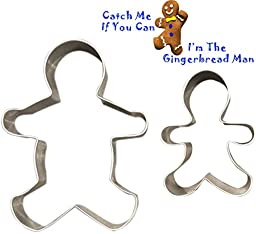 Gingerbread Man Cookie Cutters - Set of 2 Multipurpose Cutters, One 5-inch, One 3-inch