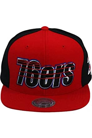 Mitchell & Ness Linear Philadelphia 76ers Red & Black Snapback by Mitchell & Ness