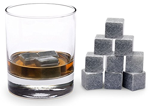 Xcellent Global Best Whiskey Stones - Soapstone Whiskey Rocks and a Velvet Bag - 9 Piece Gift Set Chilling Your Drink without Diluting - Perfect as New Years, Christmas, Valentine's Day, Wedding, Father's Day, Birthday or Gift Card Idea for Him or for You