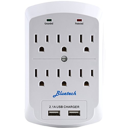 Surge Protector, Electronics Charging Station, 6 Outlet 2 USB Port Wall Adapter