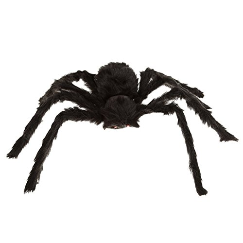 WINOMO Black Spider Halloween Decoration Haunted House Prop Plush Spider Scary Decoration 12""